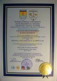 Сертификат Доктора Философии шейха Тарика Халаф Ал Абдуллы